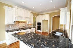 Black Granite kitchen white cabinets - Alexandria Alexandria